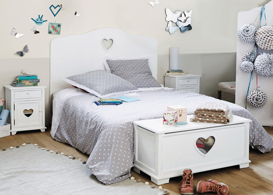 children's bedroom furniture - heart bed with heart cut out for girl